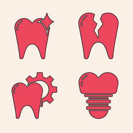 Set Dental implant, Tooth whitening concept, Broken tooth and Tooth treatment procedure icon. Vector