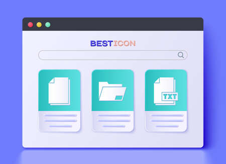 Set Document folder, Document and TXT file document icon. Vector