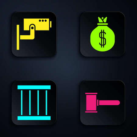 Set Judge gavel, Security camera, Prison window and Money bag. Black square button. Vector