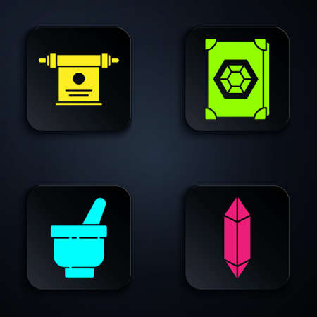 Set Magic stone, Magic scroll, Magic mortar and pestle and Ancient magic book. Black square button. Vector