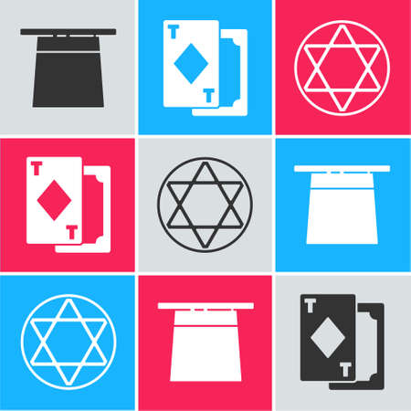 Set Magician hat, Playing cards and Star of David icon. Vector.