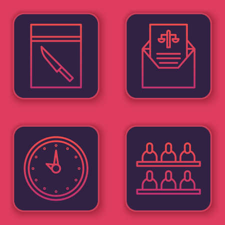 Set line Evidence bag and knife, Clock, Subpoena and Jurors. Blue square button. Vector Illustration