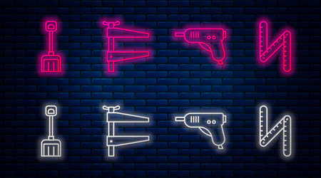 Set line Clamp tool, Electric hot glue gun, Snow shovel and Folding ruler. Glowing neon icon on brick wall. Vector