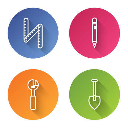 Set line Folding ruler, Pencil with eraser, Adjustable wrench and Shovel. Color circle button. Vector