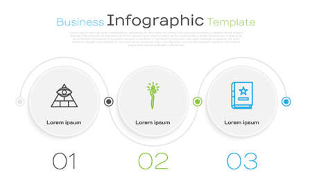 Set line Masons, Magic staff and Ancient magic book. Business infographic template. Vector  イラスト・ベクター素材