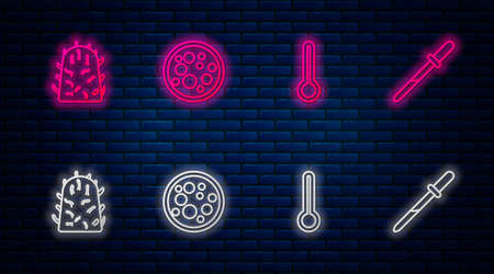 Set line Virus, Medical thermometer, Rabies virus and Pipette. Glowing neon icon on brick wall. Vector