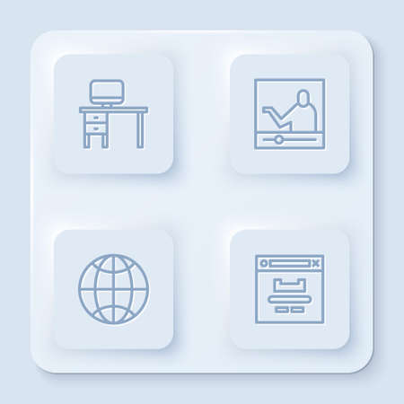 Set line Computer monitor and desk, Online education, Social network and Browser window. White square button. Vector Illustration