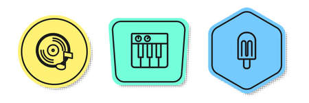 Set line Vinyl disk, Music synthesizer and Ice cream. Colored shapes. Vector Illustration