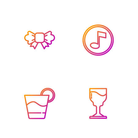 Set line Wine glass, Cocktail, Bow tie and Music note, tone. Gradient color icons. Vector
