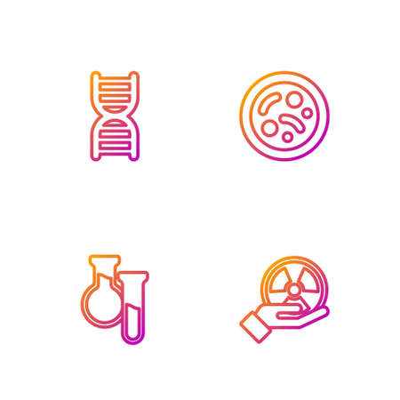 Set line Radioactive, Test tube and flask, DNA symbol and Bacteria. Gradient color icons. Vector Illustration