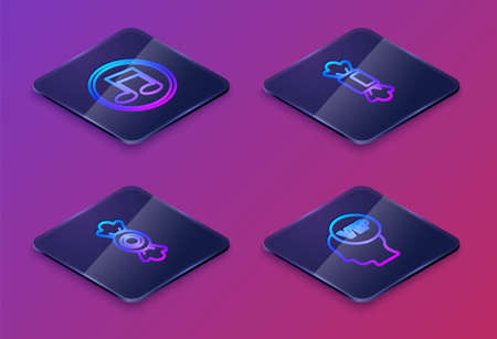 Set Isometric line Music note, tone, Candy, and Vip inside head. Blue square button. Vector