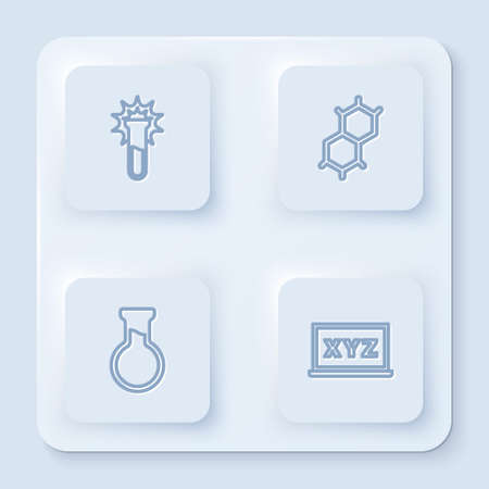 Set line Test tube and flask, Chemical formula, and XYZ Coordinate system. White square button. Vector