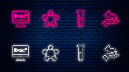 Set line Molecule, Test tube and flask, Equation solution and . Glowing neon icon on brick wall. Vector Illustration