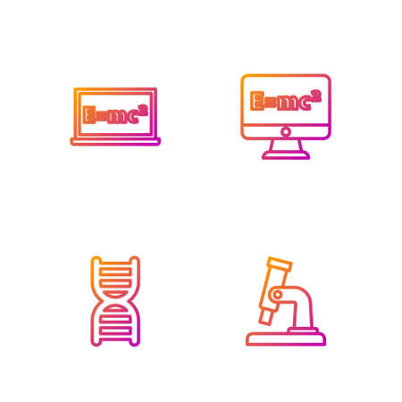 Set line Microscope, DNA symbol, Equation solution and . Gradient color icons. Vector
