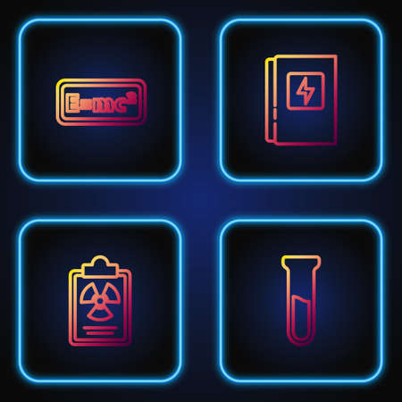 Set line Test tube and flask, Radiation warning document, Equation solution and Electrical panel. Gradient color icons. Vector