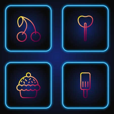 Set line Ice cream, Cupcake, Cherry and Lollipop. Gradient color icons. Vector Illustration