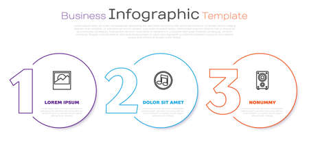 Set line Photo, Music note, tone and Stereo speaker. Business infographic template. Vector Illustration