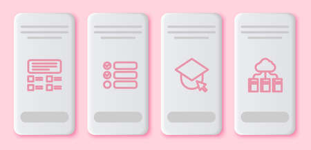 Set line Online quiz, test, survey, Task list, Graduation cap on globe and Cloud or online library. White rectangle button. Vector