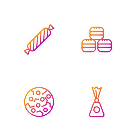 Set line Candy, Cookie or biscuit, and Macaron cookie. Gradient color icons. Vector Illustration