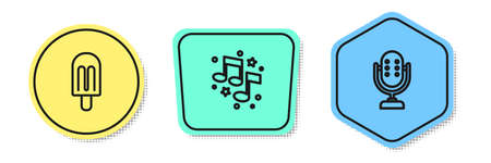 Set line Ice cream, Music note, tone and Microphone. Colored shapes. Vector