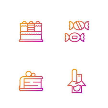 Set line Chocolate bar, Piece of cake, Cake and Candy. Gradient color icons. Vector Illustration