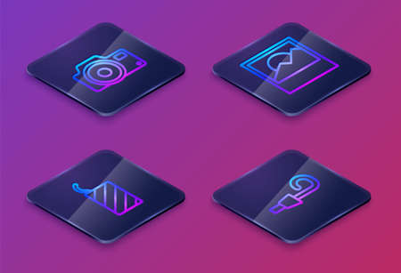 Set Isometric line Photo camera, Firework rocket, and Birthday party horn. Blue square button. Vector