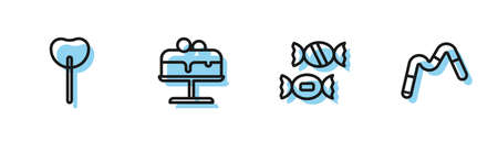 Set line Candy, Lollipop, Cake on plate and Jelly worms candy icon. Vector