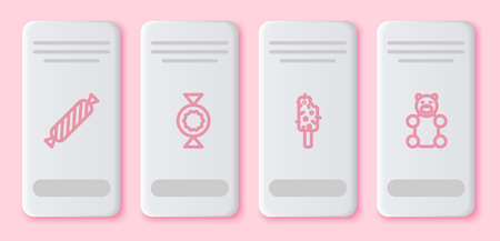 Set line Candy, , Ice cream and Jelly bear candy. White rectangle button. Vector
