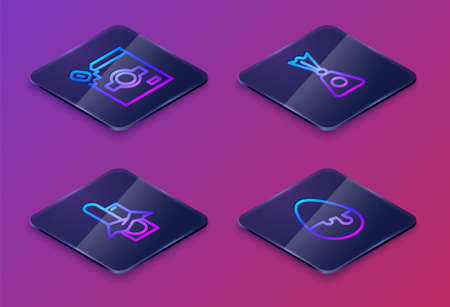 Set Isometric line Candy packaging for sweets, Chocolate bar, and egg. Blue square button. Vector Illustration