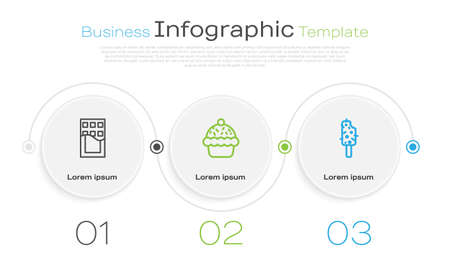 Set line Chocolate bar, Cupcake and Ice cream. Business infographic template. Vector