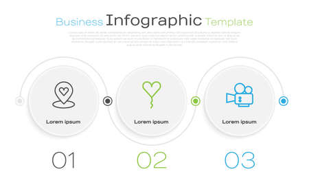 Set line Location with heart, Balloon in form of and Cinema camera. Business infographic template. Vector