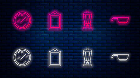 Set line Cutting board, Blender, and Frying pan. Glowing neon icon on brick wall. Vector