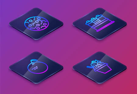 Set Isometric line Cookie or biscuit, Apple, Cake and Ice cream in bowl. Blue square button. Vector Illustration
