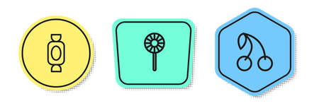 Set line Candy, Lollipop and Cherry. Colored shapes. Vector Illustration