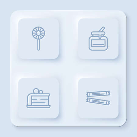 Set line Lollipop, Jar of honey, Piece cake and Sugar stick packets. White square button. Vector Illustration