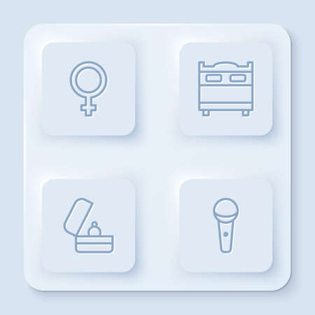 Set line Female gender symbol, Bedroom, Wedding rings and Microphone. White square button. Vector