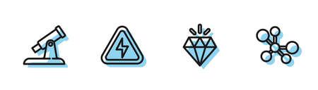 Set line Diamond, Telescope, High voltage and Molecule icon. Vector
