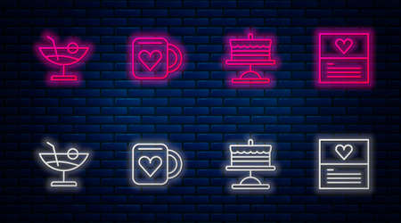 Set line Coffee cup and heart, Cake on plate, Cocktail and Greeting card. Glowing neon icon on brick wall. Vector Illustration