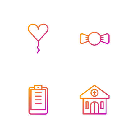 Set line Church building, Clipboard with checklist, Balloon form of heart and Bow tie. Gradient color icons. Vector Illustration