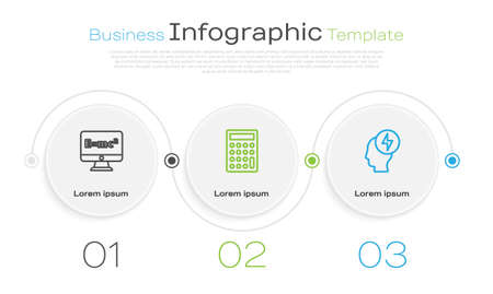 Set line Equation solution, Calculator and Head and electric symbol. Business infographic template. Vector Illustration