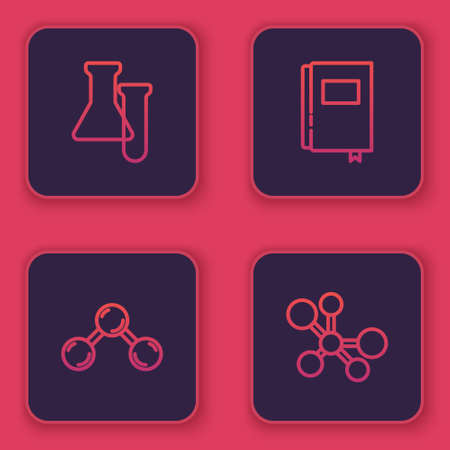 Set line Test tube and flask, Molecule, Book and . Blue square button. Vector