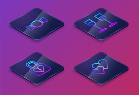 Set Isometric line Bow tie, Lock and heart, Glass of champagne and Heart. Blue square button. Vector