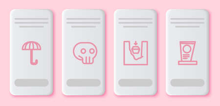 Set line Umbrella, Skull, Coffin in grave and Grave with tombstone. White rectangle button. Vector Illustration