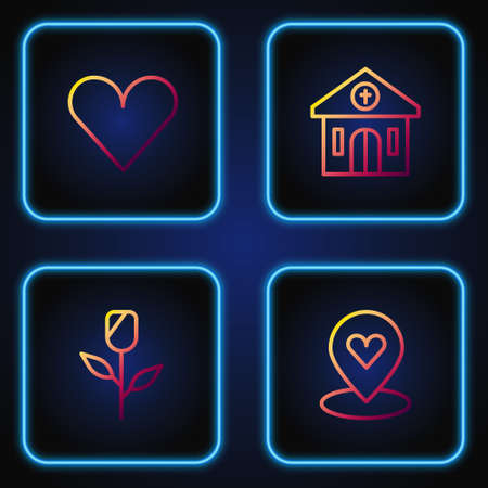 Set line Location with heart, Flower rose, Heart and Church building. Gradient color icons. Vector
