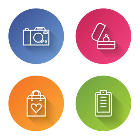 Set line Photo camera, Wedding rings, Shopping bag with heart and Clipboard checklist. Color circle button. Vector Illustration