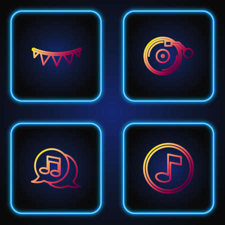 Set line Music note, tone, Musical in speech bubble, Carnival garland with flags and Vinyl player disk. Gradient color icons. Vector