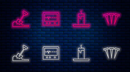 Set line Beat dead in monitor, Burning candle, Shovel the ground and Metallic nails. Glowing neon icon on brick wall. Vector Illustration