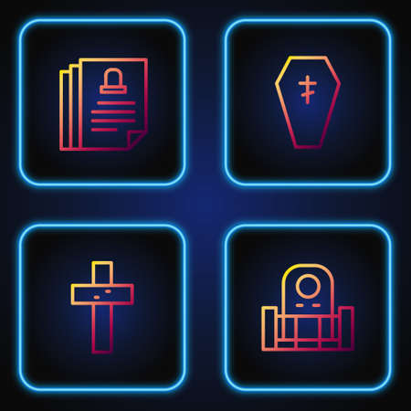 Set line Grave with tombstone, Christian cross, Death certificate and Coffin. Gradient color icons. Vector