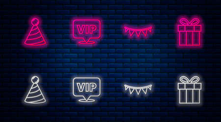 Set line Location Vip, Carnival garland with flags, Party hat and Gift box. Glowing neon icon on brick wall. Vector.