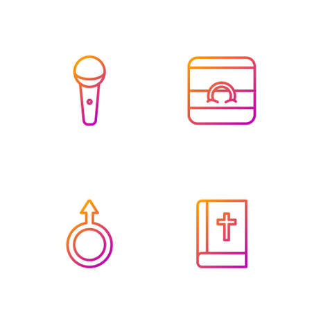 Set line Holy bible book, Male gender symbol, Microphone and Wedding rings. Gradient color icons. Vector Illustration